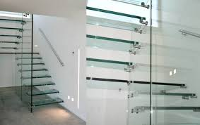 All glass stairs with landing