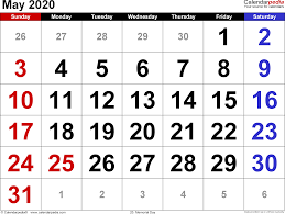April May 2020 Calendar Printable May 2020 Calendars For Word Excel Pdf