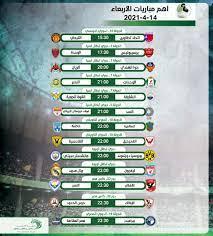 أهم مباريات اليوم الأربعاء 14 – 4 – 2021 والقنوات الناقلة - التيار الاخضر