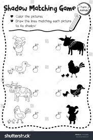 shadow matching game farm animals preschool stock vector 714570889 ...