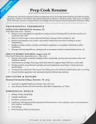Cook Resume Objective Prep Cook Resume Sample Writing Tips Resume Companion 27