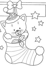 Free Coloring Pages Christmas Cat In Stocking Christmas Coloring