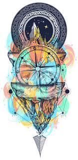 Fototapeta Hory A Starožitný Kompas Barevné Tetování Kompas šípy Hory