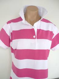 candy pink white stripe rugby plain white trim