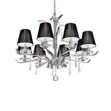 Ideal Lux Akademie Große 8 Licht Kronleuchter Chrom Mit Schwarzen Lampe Farbtöne