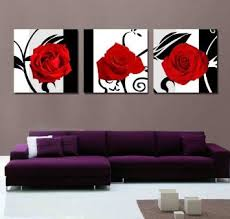buy xm art canvas print 3 panels black white red rose canvas art abstract wall art decorations on canvas home decor unstretched and no framed in cheap  on red black white wall art with buy xm art canvas print 3 panels black white red rose canvas art