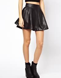 petite leather look skirt