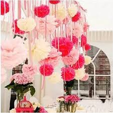 Hanging Flower Ball Decorations 100cm Tissue Paper Pom Poms Handmade Artificial Flower Ball 2