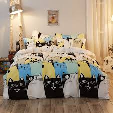 4Pcs Fashion Scandinavian Cartoon Cats Family Twin/Full/Queen/King ... & 4Pcs Fashion Scandinavian Cartoon Cats Family Twin/Full/Queen/King Size Bed  Linen Adamdwight.com