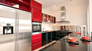 black kitchen cabinet inside modern red wall kitchen with white