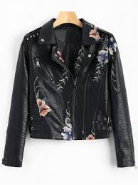 chic fl patched rivet faux leather jacket black m