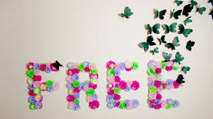 diy paper flowers monogram and erflies wall art room decor idea i wear a bow you
