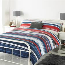 striped reversible brushed cotton duvet cover set in blue red