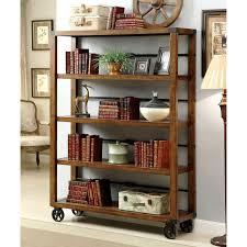 Furniture:Ultra Modern Soft Brown Solid Wood Rotating Portable Bookcase  Vintage Brown Wood Portable Bookshelves