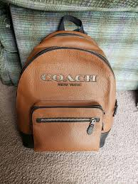 coach new york brown leather backpack