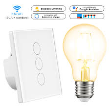 Remote Control Light Bulbs Uk Us 18 69 30 Off Led Dimmer 220v Wifi Touch Wall Light Switch Panel Wireless Switch Remote Control Work With Alexa Google Home With Dimmer Bulb In