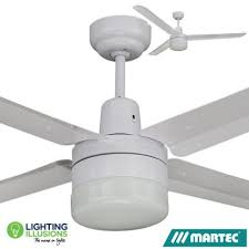 white martec trisera 3 or 4 blade 1400mm 56 ceiling fan with light lighting illusions
