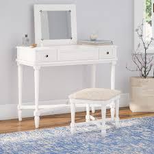 bedroom: Vanity With Mirror And Bench Vanity Set Cute Vanity Table ...