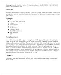 Resume Templates: Nursing Home Volunteer