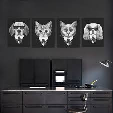 modern black white. contemporary black modern black white vintage italy abstract mafia animals dog cat canvas a4  print poster wall picture home decor painting no frame and e