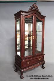 solid mahogany 2 door display cabinet with drawer