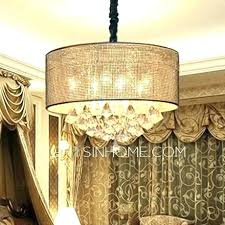 white drum chandelier with crystals crystal pendant shade pendants