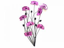 metal wall art purple pink poppy