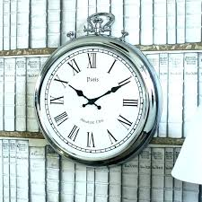 large pocket watch wall clock large pocket watch wall clock pocket watch wall clock silver metal