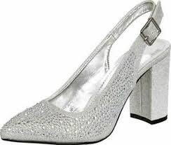 Details About Cambridge Select Womens Pointed Toe Glitter Crystal Rhinestone Slingback Block