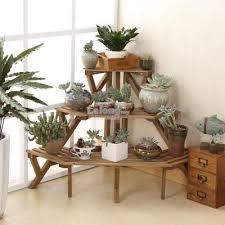 garden rack. Solid Wood Corner Flower Rack, DIY Shelf, Garden Portable Shelve Rack S