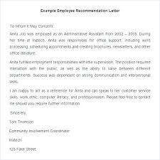 Sample Of Employee Reference Letter Employee Reference Letter Examples Employee Recommendation Letter