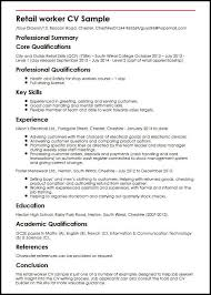 example of a written cv application retail worker cv sample myperfectcv
