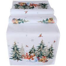 Mitteldecke Tischläufer Weihnachten Schneemann Wald Weiß Druck Bunt 40x140 Cm Matches21
