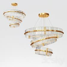 3 layers large round led lights modern crystal chandelier light