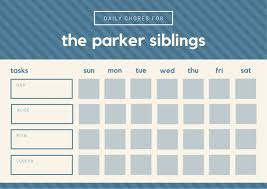 Chore Chart Template For Teens Blue Beige Stripes Pattern Teenagers Chore Chart Templates