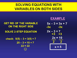right side solving equations with variables on both sides 3 2x 10 2 x 5 solve 2 step equation check 5 5 3 3 5 7 25 3 15 7 22 22