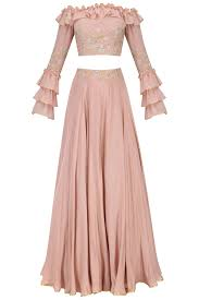 Circular Skirt Designs Blush Pink Off Shoulder Ruffled Croptop With Embroidered