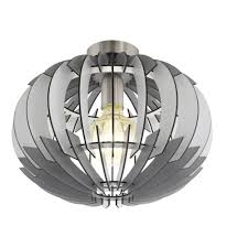 olmero contemporary flush ceiling light with grey wooden shade 96971