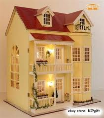 wooden dollhouse miniatures diy house kit wled light and music large villa ebay brand baby wooden doll house
