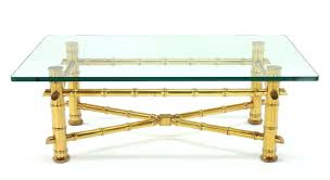 gold leaf faux bamboo base coffee table with thick glass top for with regard to fashionable