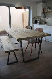 john lewis calia style industrial reclaimed plank top dining table v frame steel base handmade uk