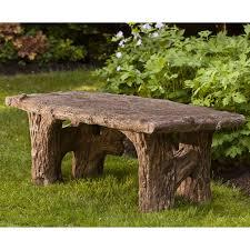 campania international faux bois cast stone backless garden bench hayneedle