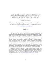 Pdf Quelques Conseils Pour écrire Un Article Scientifique En Anglais