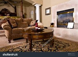 Overstuffed Living Room Furniture Master Bedroom Sitting Room Fireplace Over Stock Photo 30405514