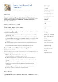 Front End Developer Resume Example Template Sample Cv Formal