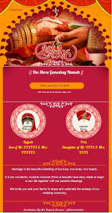 create and a indian wedding invitation card instantly you can add wedding date location groom bride name cards can be made in english hindi