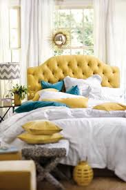 Blue Headboard Design Ideas Yellow Tufted Headboard With Blue Velvet Pillows And White