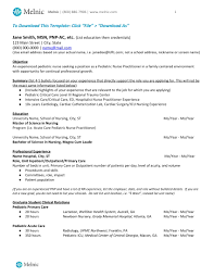 Resume Pediatric Nurse Nurse Practitioner Sample Resume Melnic