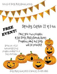 Pumpkin Carving Contest Flyers Epx Supports S Philly Library Friends Pumpkin Painitng Epx