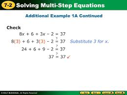 solving multi step equations 7 2 warm up lesson